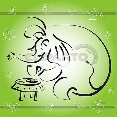 Słoń z filiżanką herbaty | Klipart wektorowy |ID 3045268