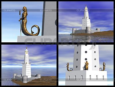 알렉산드리아의 등대. 3D 재구성 | 높은 해상도 그림 |ID 3045833