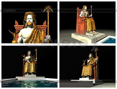 Posąg Zeusa w Olimpii. Rekonstrukcje 3D | Stockowa ilustracja wysokiej rozdzielczości |ID 3045845