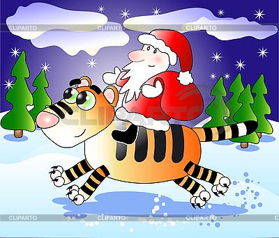 Święty Mikołaj na tygrysa | Klipart wektorowy |ID 3046081