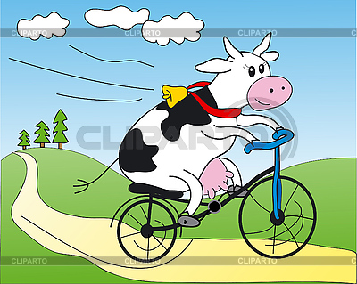 Krowa na rowerze | Klipart wektorowy |ID 3053180