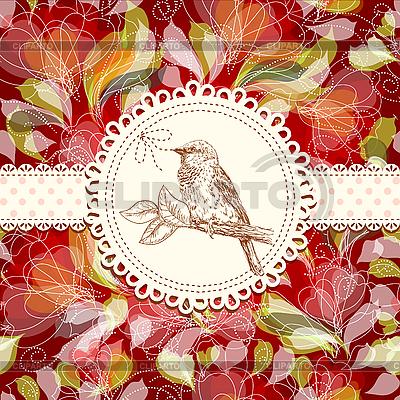 새와 꽃과 빈티지 카드 | 벡터 클립 아트 |ID 3058751