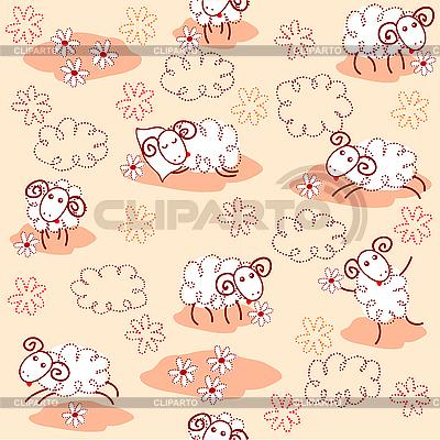 Бесшовный узор с милой овечкой | Иллюстрация большого размера |ID 3079293