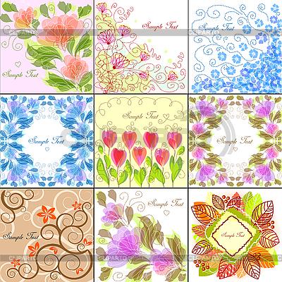 Набор 9 цветочных фонов | Векторный клипарт |ID 3079297