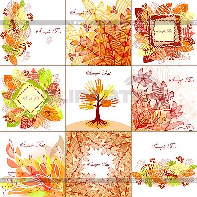Zestaw tła jesieni | Klipart wektorowy |ID 3079301
