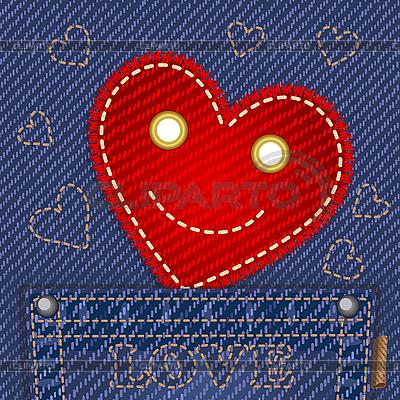 Nettes Herz in Jeans-Tasche | Stock Vektorgrafik |ID 3127824