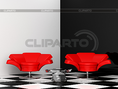 Czarno-białe wnętrze z dwoma czerwonymi fotelami 3d | Stockowa ilustracja wysokiej rozdzielczości |ID 3040196