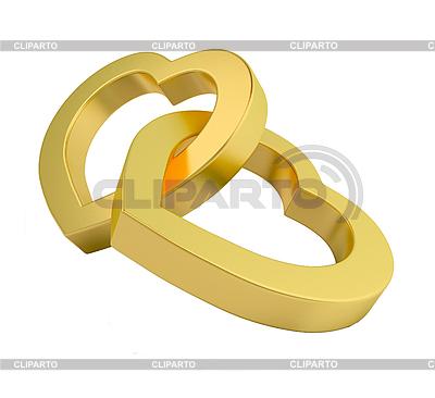 Золотые сердца на белом | Иллюстрация большого размера |ID 3040216