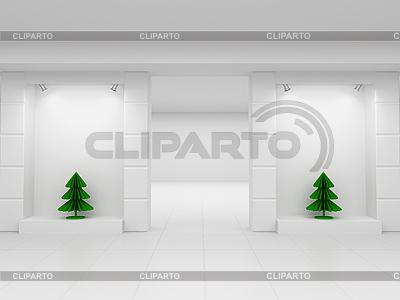 Schaufenster mit Weihnachtsbäumen | Illustration mit hoher Auflösung |ID 3062028