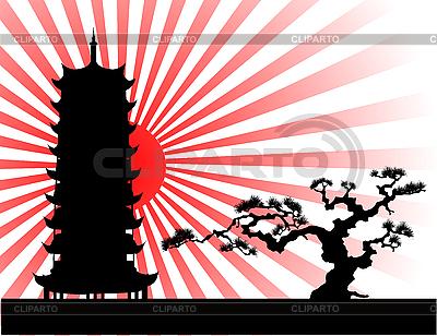 Japoński sylwetka krajobraz | Klipart wektorowy |ID 3040529