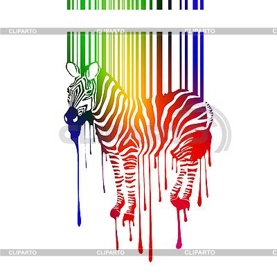 Sylwetka zebra z kodem kreskowym | Klipart wektorowy |ID 3041410
