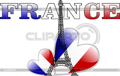 Wieża Eiffla i francuskiej flagi w formie serca | Klipart wektorowy |ID 3042137