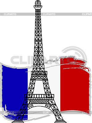 Wieża Eiffla i french flag | Klipart wektorowy |ID 3042141