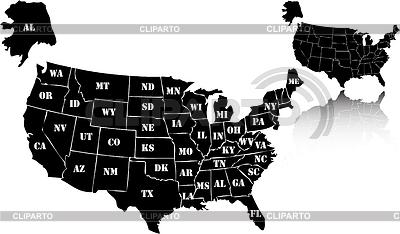 Set von schwarzen Landkarten der USA | Stock Vektorgrafik |ID 3217670