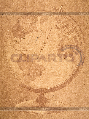 Globus auf altem Papierblatt | Illustration mit hoher Auflösung |ID 3054313