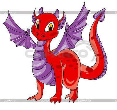 Czerwony smok z fioletowymi skrzydłami | Klipart wektorowy |ID 3117545