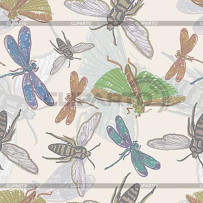 Nahtloser Hintergrund mit Insekten | Stock Vektorgrafik |ID 3044932