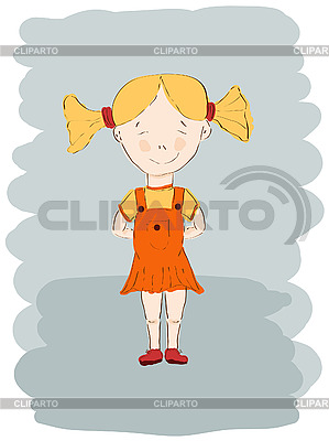 Mała dziewczynka w pomarańczowej sukience | Klipart wektorowy |ID 3044951
