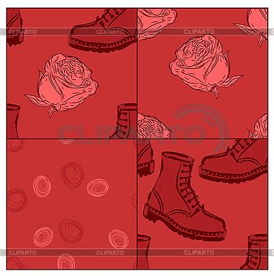 Nahtlose Grunge Hintergrund mit Stiefeln und Rosen | Stock Vektorgrafik |ID 3066096