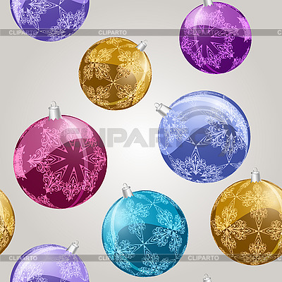 Nahtloses Muster mit glänzenden Weihnachtskugeln | Stock Vektorgrafik |ID 3094998