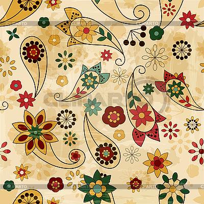 Nahtloses Muster mit Paisley-Elementen und Blumen | Stock Vektorgrafik |ID 3196428