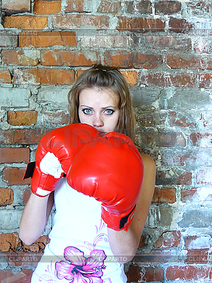 Schönes junges Mädchen als Boxer | Foto mit hoher Auflösung |ID 3047642