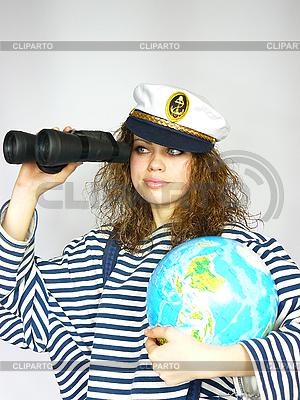 Attraktive Seefrau hält den Globus | Foto mit hoher Auflösung |ID 3054259