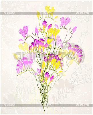 贺卡与一束鲜花 | 向量插图 |ID 3053428
