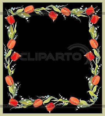Dekorativer Rahmen mit Tulpen und Maiglöckchen | Stock Vektorgrafik |ID 3070813