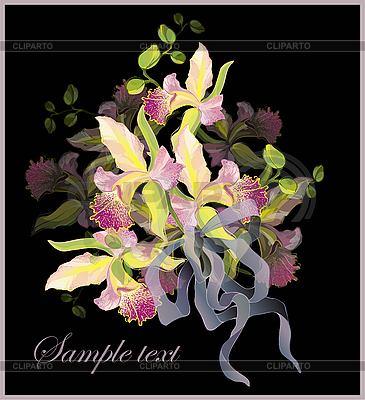 Grußkarte mit einem Strauß Orchideen | Stock Vektorgrafik |ID 3071121