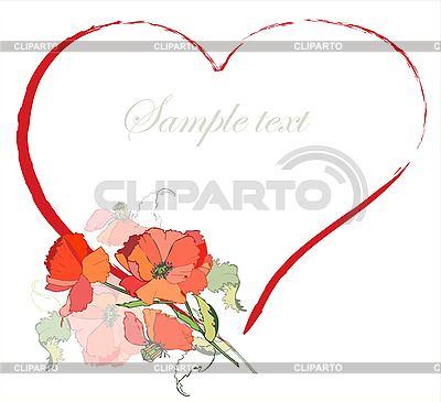 Valentinstaggrußkarte mit Herz von Mohn-Blumen | Stock Vektorgrafik |ID 3071213