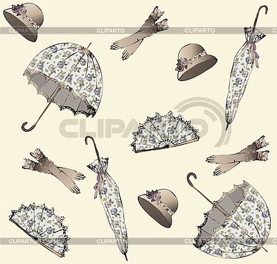 背景雨伞,帽子,球迷和手套 | 向量插图 |ID 3071267