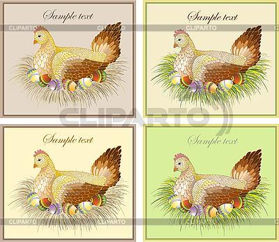 Ostern-Karte mit Huhn und Eiern | Stock Vektorgrafik |ID 3071279