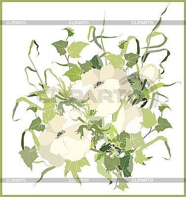 Поздравительная открытка с букетом анемонов | Векторный клипарт |ID 3073777