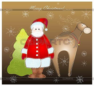 Glückwunschkarte mit Weihnachtsmann, Hirsch und Tanne | Stock Vektorgrafik |ID 3094511
