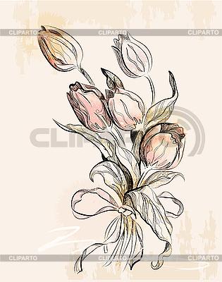 老式贺卡与郁金香 | 向量插图 |ID 3045693