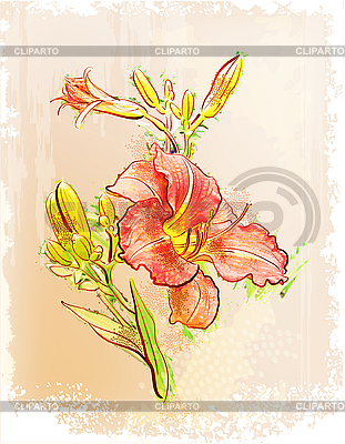 Rote Lilie im Vintage-Stil | Stock Vektorgrafik |ID 3045870