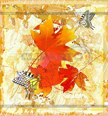 Herbstlicher Grunge-Hintergrund mit roten Ahornblättern | Stock Vektorgrafik |ID 3045927