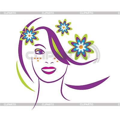 程式化的肖像,美丽的年轻女子花 | 向量插图 |ID 3045940
