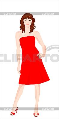Mädchen im roten Kleid | Stock Vektorgrafik |ID 3047763