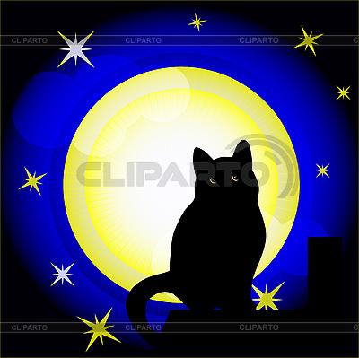 Vollmond und schwarze Katze | Stock Vektorgrafik |ID 3050311