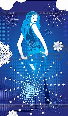 Zimowe karty z dziewczyną | Klipart wektorowy |ID 3053430