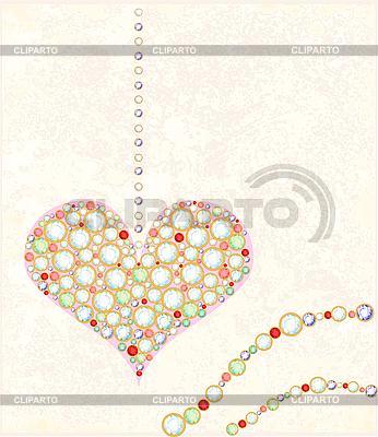 Grußkarte mit Diamant-Herz | Stock Vektorgrafik |ID 3053650