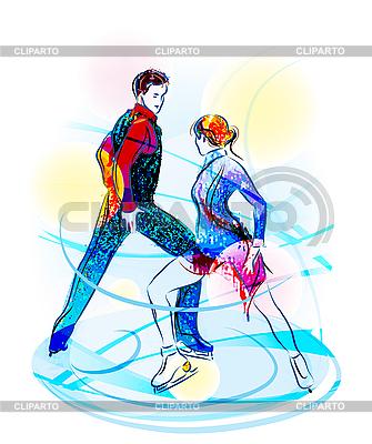 对花样滑冰。冰上表演 | 向量插图 |ID 3053735