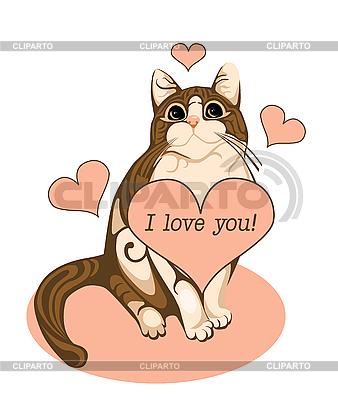 Walentynki kartkę z życzeniami z pręgowany kot i serca | Klipart wektorowy |ID 3058623