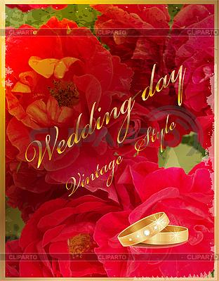 Hochzeitskarte mit Ringen und roten Rosen | Stock Vektorgrafik |ID 3058851