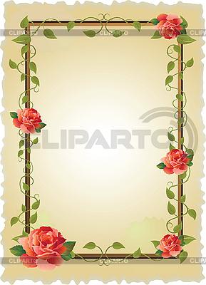 老式帧与玫瑰 | 向量插图 |ID 3061229