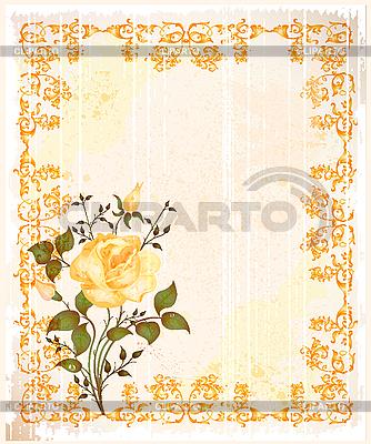 Alte Grußkarte mit Rose | Stock Vektorgrafik |ID 3063171