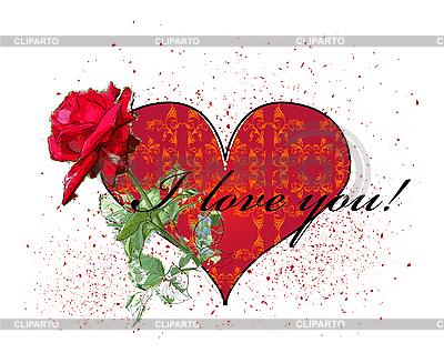 Karta Walentynki z czerwoną różą i serce | Klipart wektorowy |ID 3068219