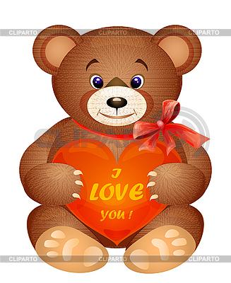 Teddybär mit rotem Herz | Stock Vektorgrafik |ID 3081350